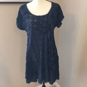 Johnny Was navy blue embroidered tunic, Sz M